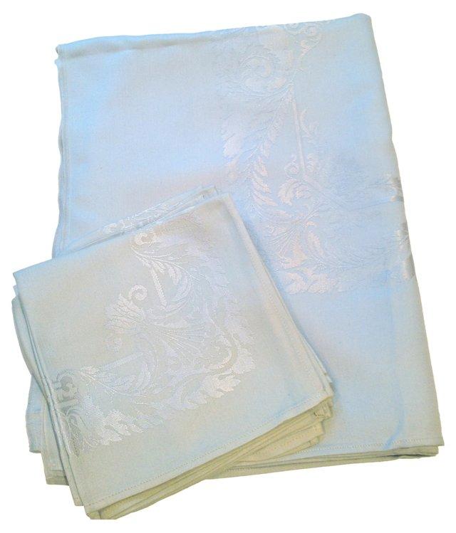 Damask Tablecloth & Napkins, Svc. for 6