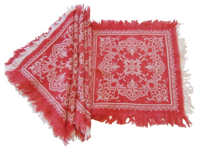 Turkish Red Luncheon Napkins, S/6