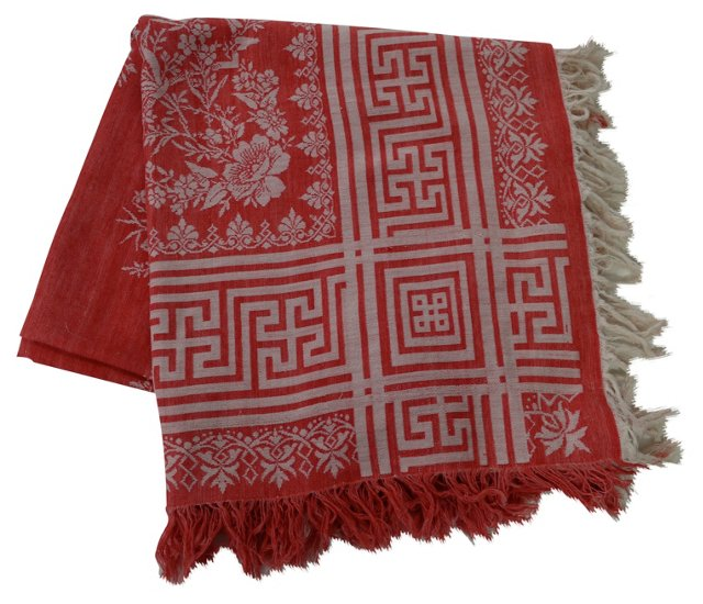 Antique Red Turkish Tablecloth