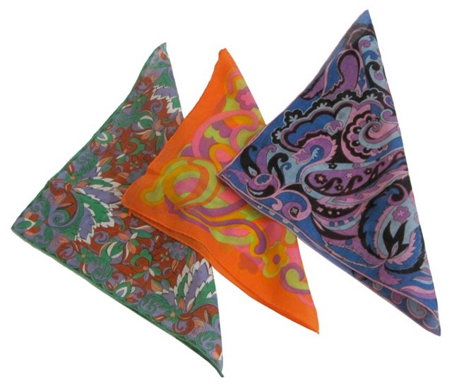Mod Geometric Handkerchiefs, S/3