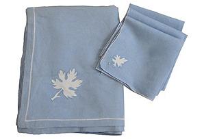 Leaf Tablecloth & 6 Napkins