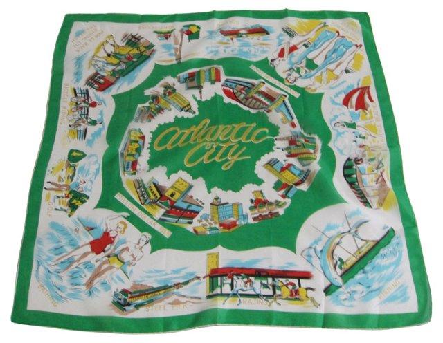 Atlantic City Souvenir Silk Scarf