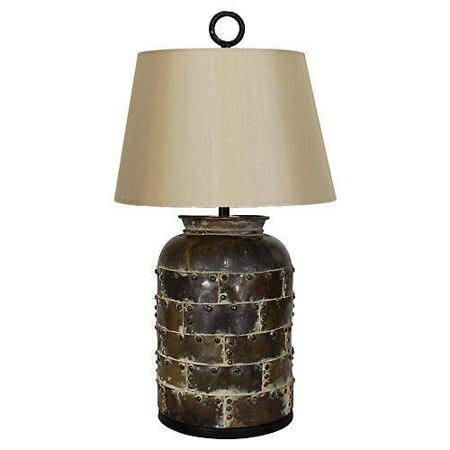 Brutalist Distressed Finish Brass Lamp