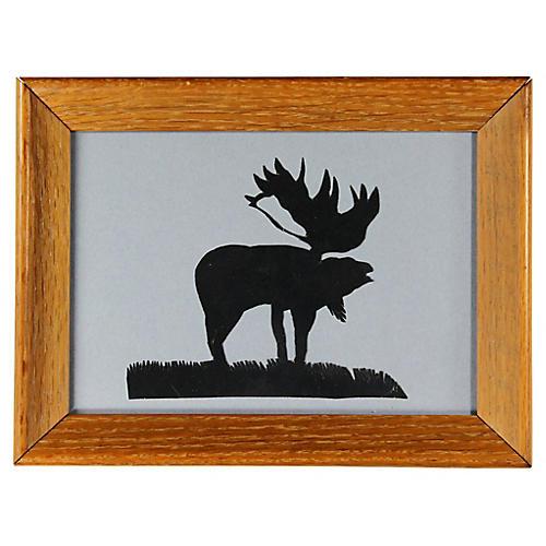 Folk Art Paper-Cut Moose Silhouette