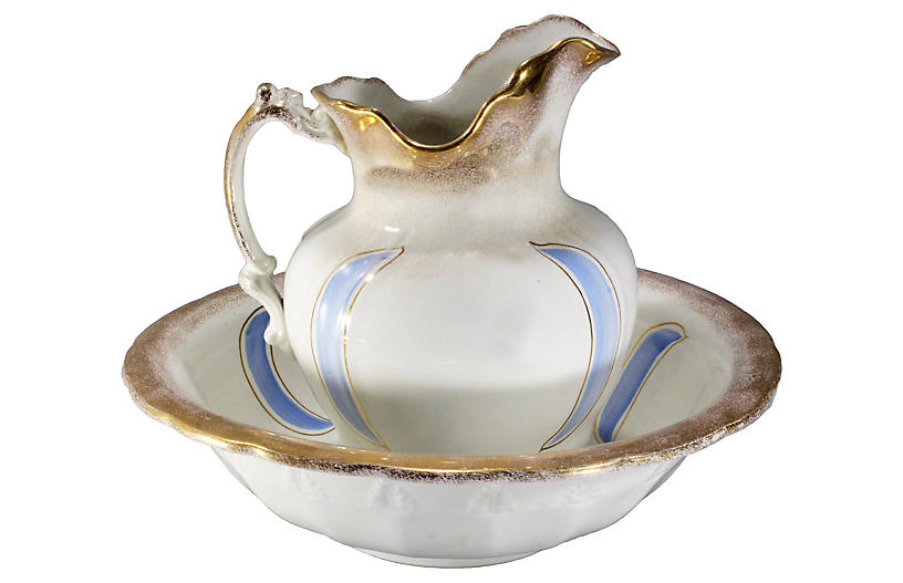 Antique Ironstone Pitcher and Basin