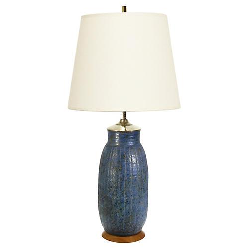 Midcentury Blue & Gold Ceramic Lamp