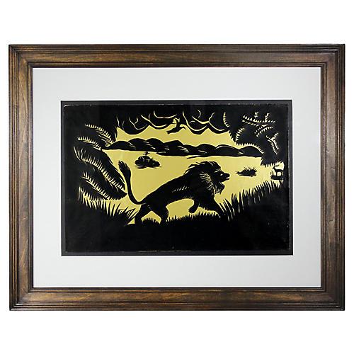 Folk Art Paper-Cut Lion Silhouette