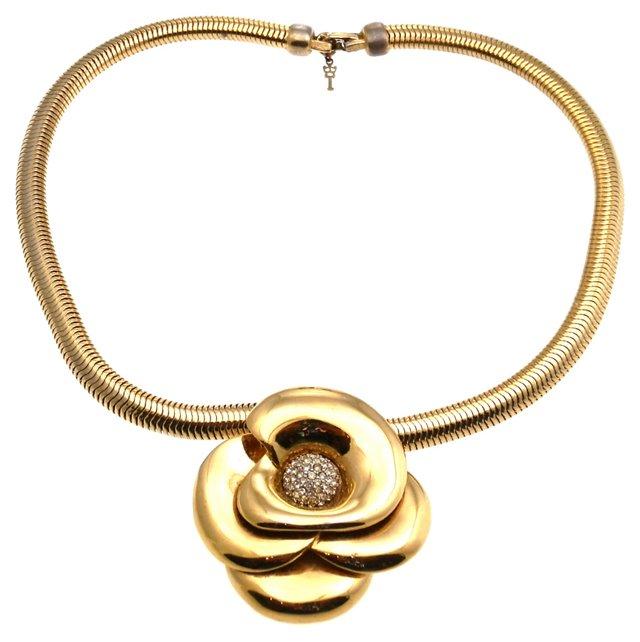 Trifari Flower Pendant Necklace