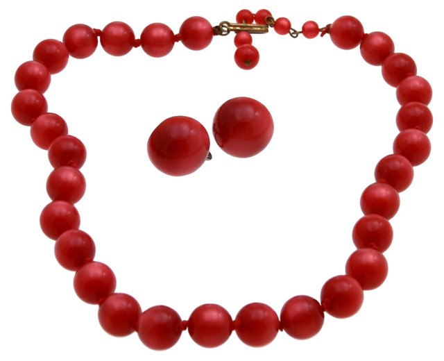 Red Moonglow Lucite Necklace & Earrings