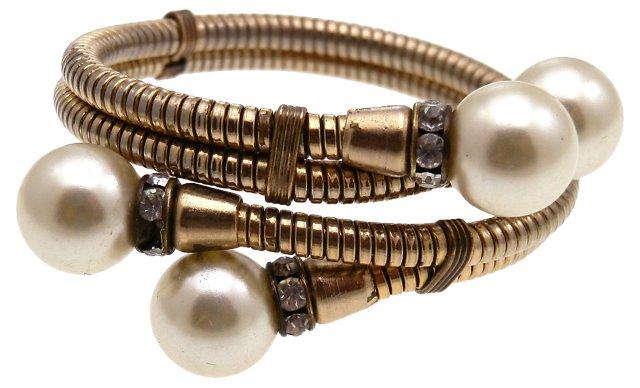 Wrap Faux-Pearl & Rhinestone Bracelet