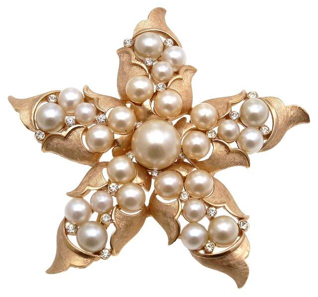 Trifari Faux-Pearl Starfish Brooch