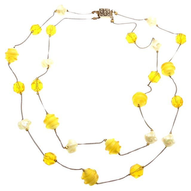 Canary Yellow & Iridescent Necklace