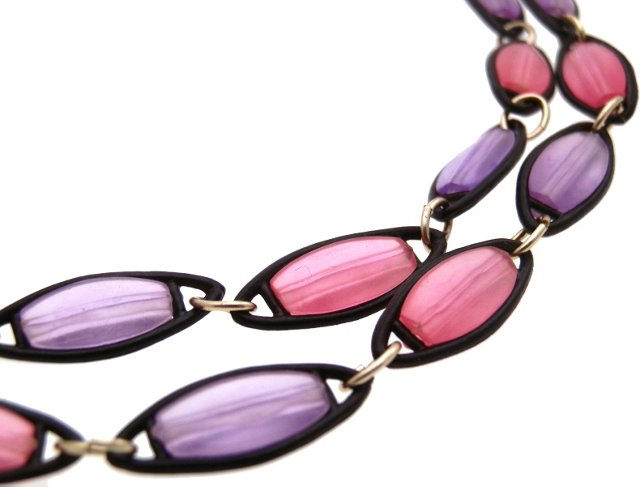 Lavender & Pink Lucite Necklace
