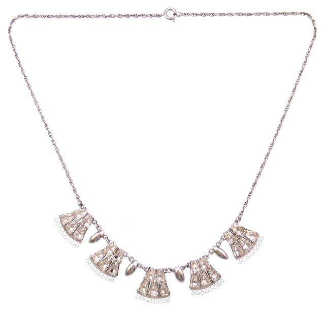 Art Deco Sterling & Rhinestone Necklace