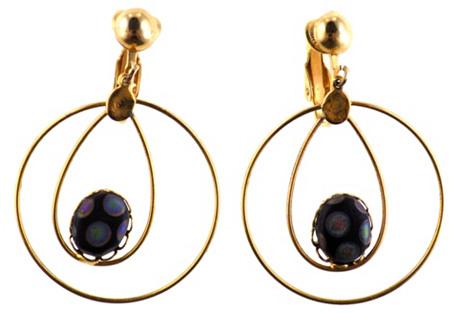 1960s Murano Glass & Wire Hoop Earrings