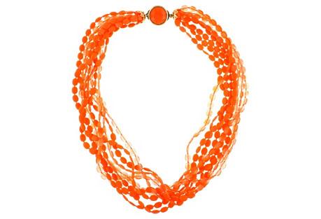 Tangerine Multi-Strand Beaded Necklace