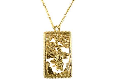 Napier Asian Motif Pendant Necklace