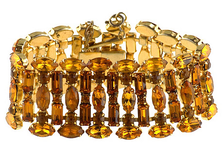 Golden Topaz Tiered Crystal Bracelet