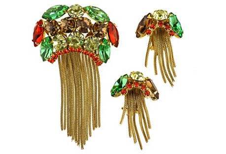 Juliana Chain Tassel Brooch & Earrings
