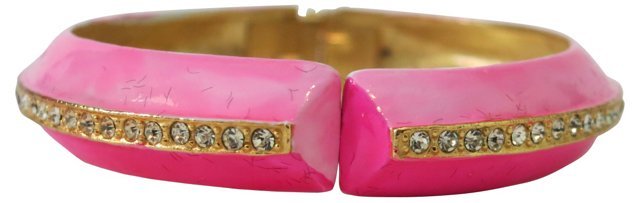 Pink Enamel & Rhinestone Bracelet