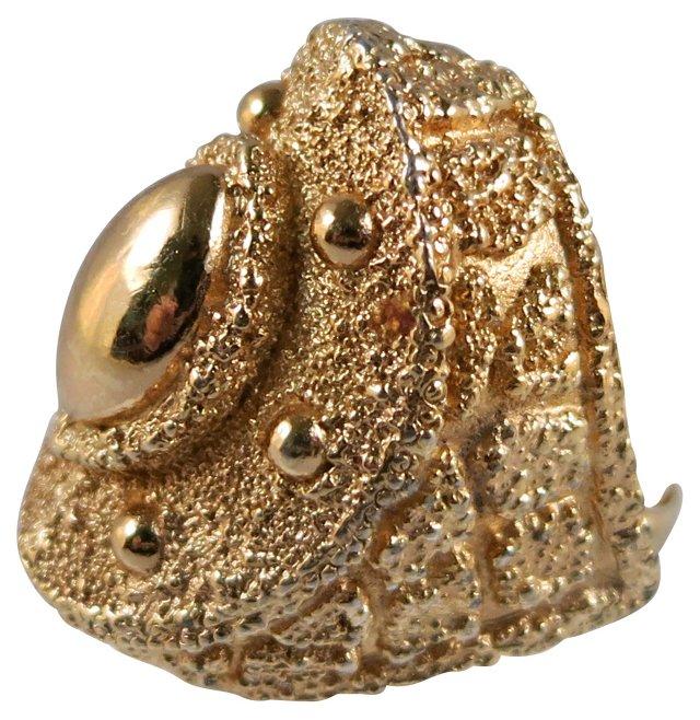 Napier Goldtone Textured Ring