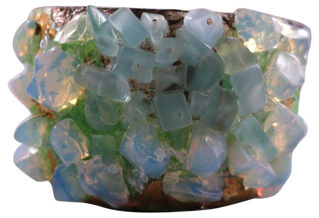 Enamel & Blue Tumbled Glass Cuff
