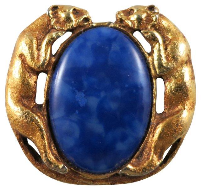Goldtone Lion Pin w/ Blue Cabochon