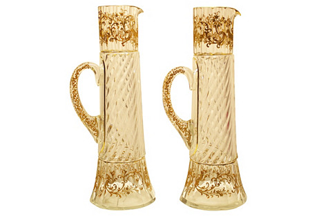 Champagne Pitchers Attbr. Moser, Pair