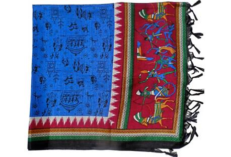 India Blue Silk Throw