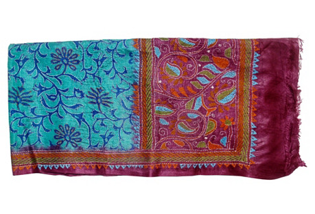 Indian Turquoise Silk Wall Hanging