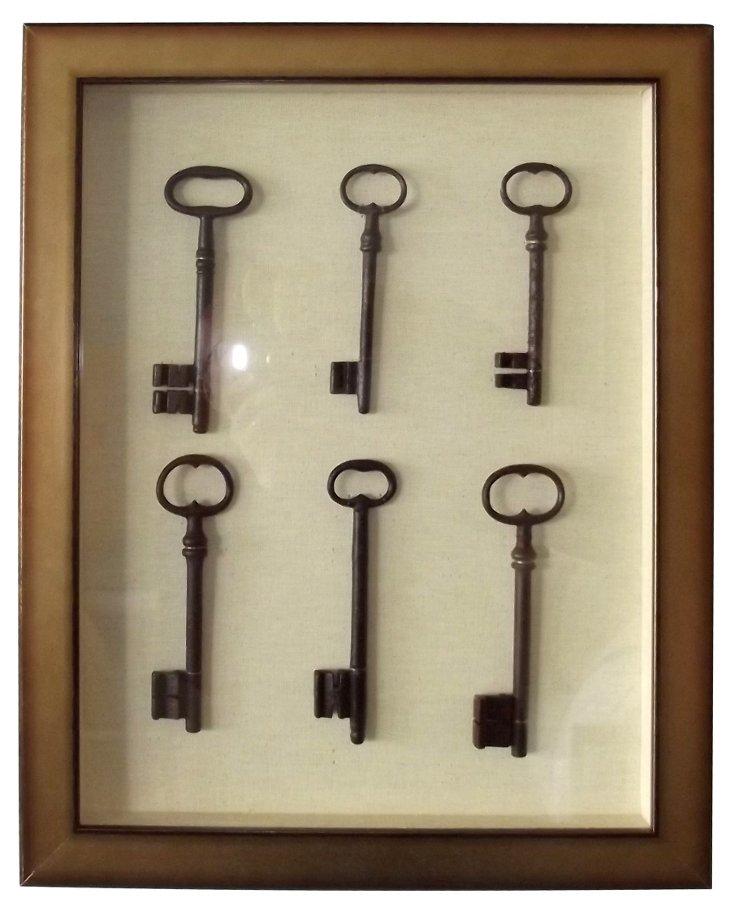 Framed Collection of Keys
