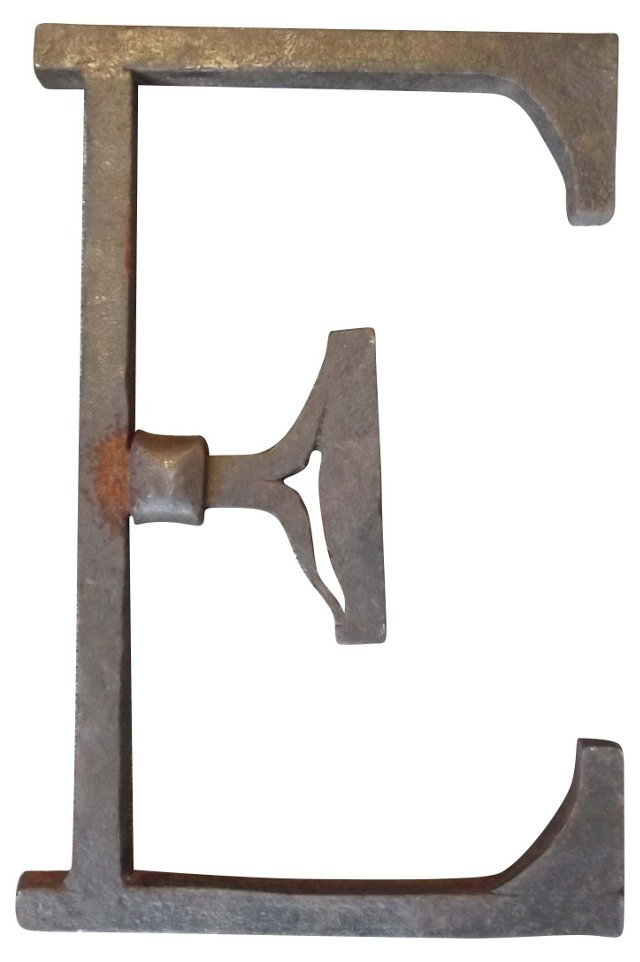 19th-C. Blacksmith-Made Letter E