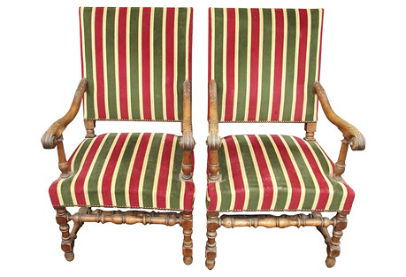 Louis XIII-Style Armchairs, Pair