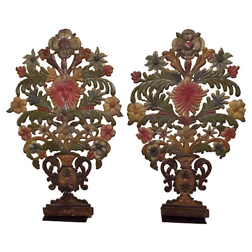 French Mantel Garnitures, Pair