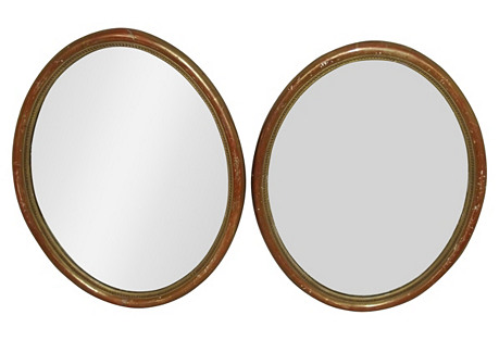 Louis Phillipe Oval Framed Mirrors, Pair