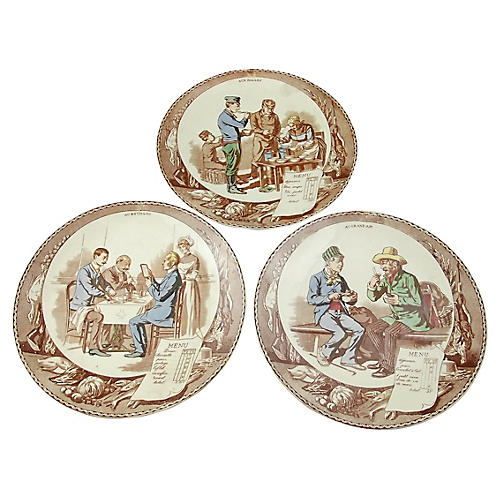 French Decorated Wall Plaques, S/3
