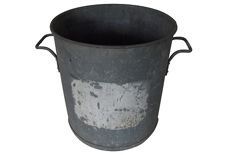 French Galvanized Hot Water Bucket