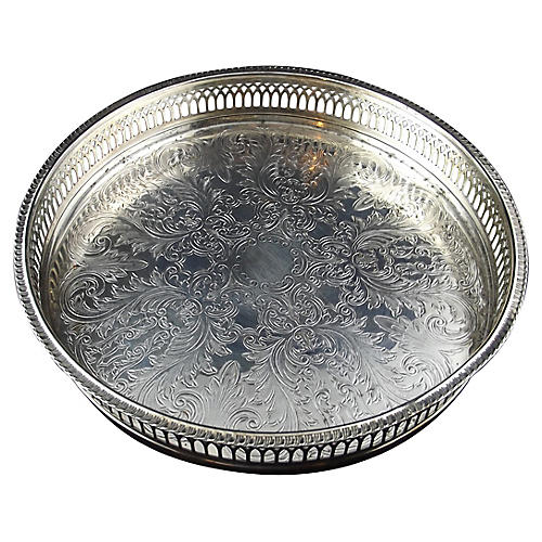 Round Galleried Sheffield Tray