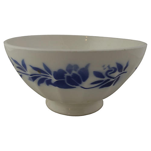 Blue Stenciled Cafe Au Lait Bowl