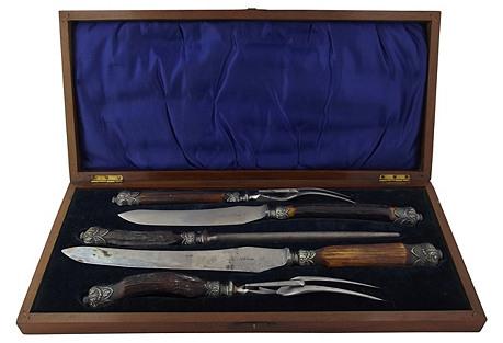 English Stag Handled Carving Set, 5 Pcs