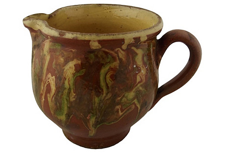 Bulbous French Decorated Pottery Pitcher