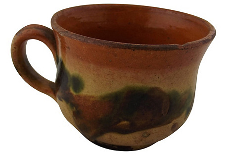 French Decorated Pottery Handled Crock