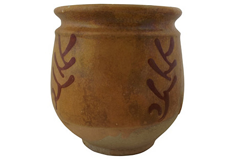 French Slip Decorated Pottery Crock