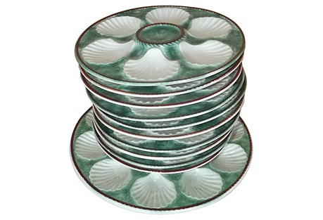 French Majolica Oyster Set, 11 Pcs