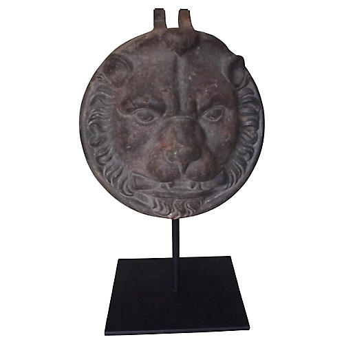 Cast Iron Lion's Face w/ Stand