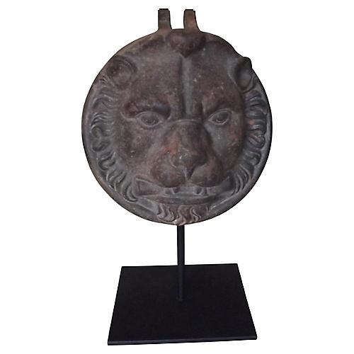 Cast Iron Lion's Face w/ Stand