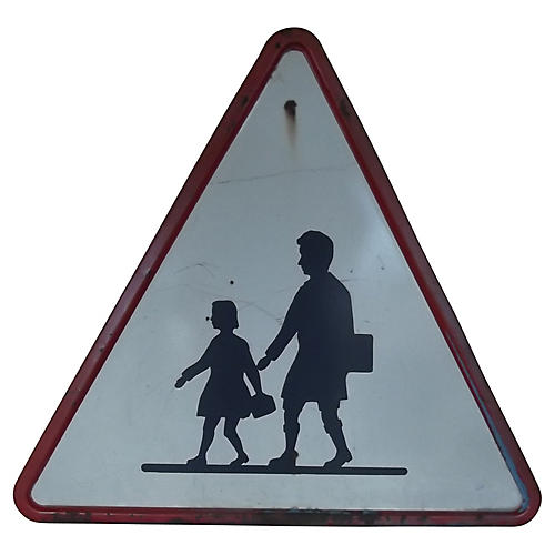 Belgian School Crossing Road Sign