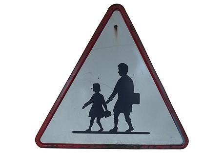 Belgian School Crossing Road Sign