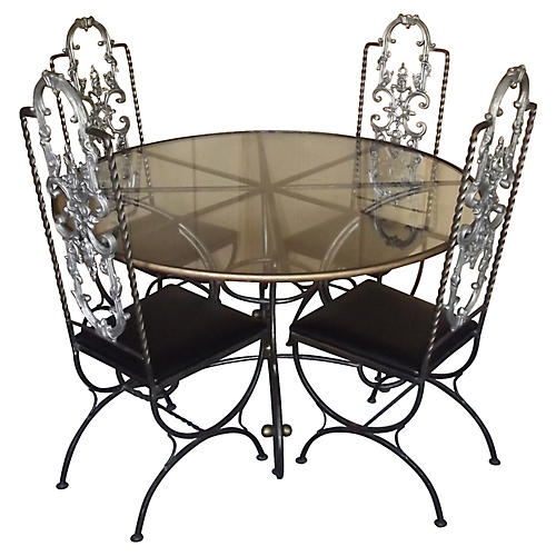 French Steel Dining Set, 5 Pcs