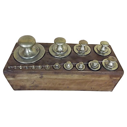 19th-C. French Brass Scale Weights